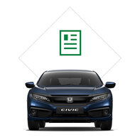 Front facing Honda Civic 4 door with brochure illustration.