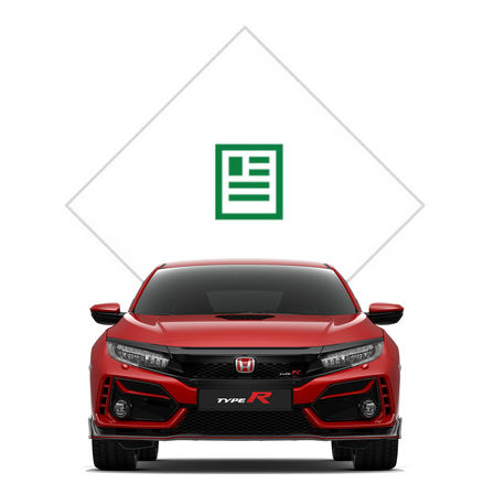 Vue avant de la Honda Civic Type R avec illustration de la brochure.
