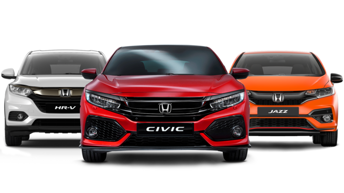 CR-V rouge, HR-V blanc, Jazz orange et Civic Type R noire sur fond blanc