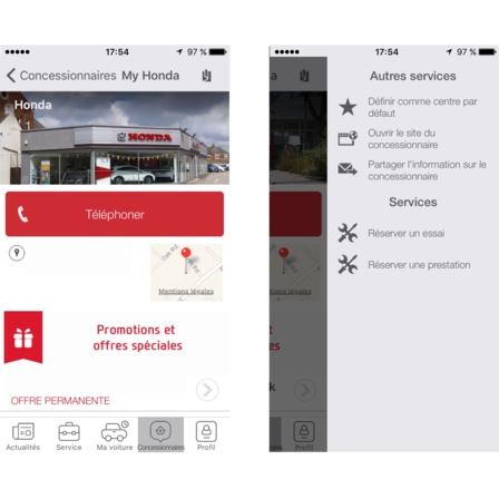 capture d'écran application My Honda - comment modifier le concessionnaire favori