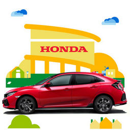 Illustration d'une Concession Honda avec une Civic Tourer au premier plan